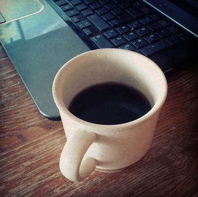 Short, black coffee and keyboard.