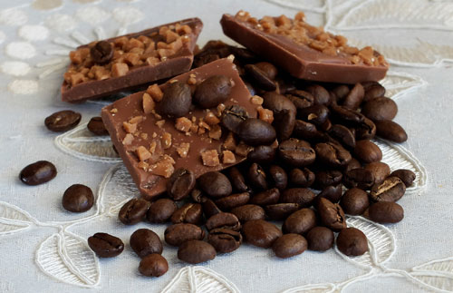 Coffee beans and chocolate