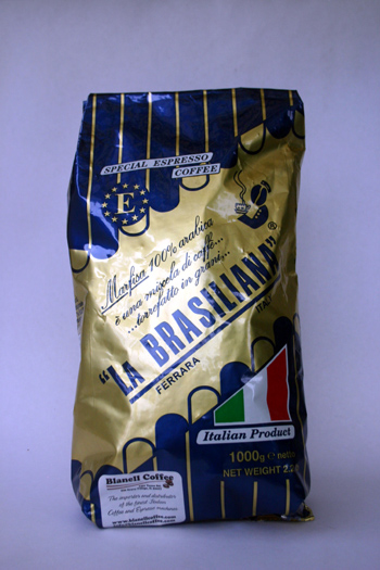 a bag of la brasiliana espresso coffee beans