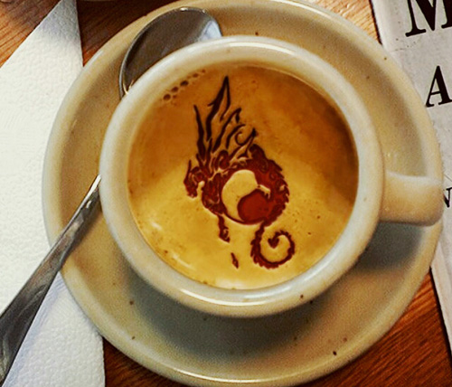 Coffee art with dragon.