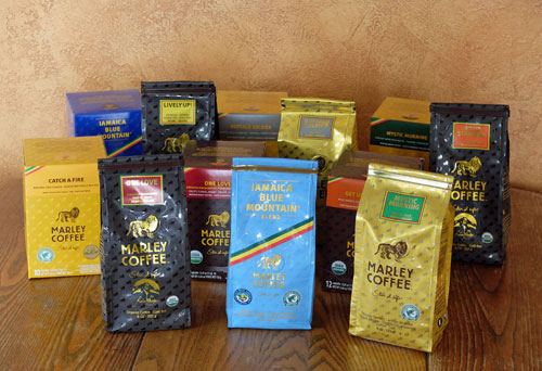 Marley Coffee selection of coffees.