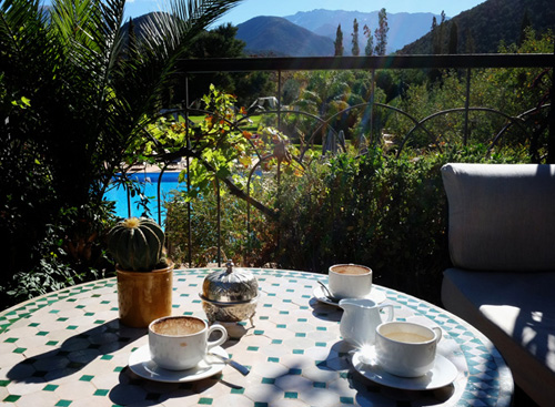 Morning coffee outside Marrakesh, Morocco.