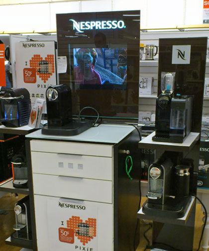 nespresso machines on display