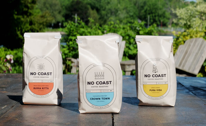 Bags of coffee from No Coast Coffee Roasters