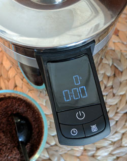 KitchenAid Precision Press coffee maker LED display.