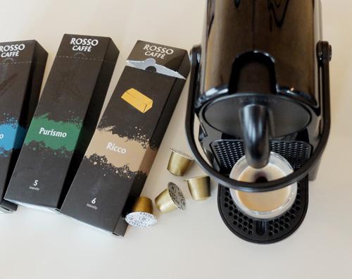 Nespresso Inissia with Rosso Caffe espresso capsules.