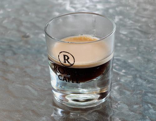 Espresso shot glass from Rosso Caffe.