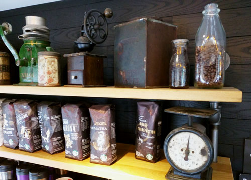 Shelves of coffee backs at Starbucks.