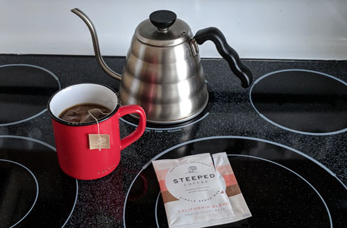 Making gourmet coffee with Steeped Coffee bags.