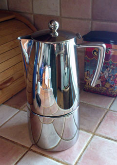 Stainless steel stovetop espresso machine.