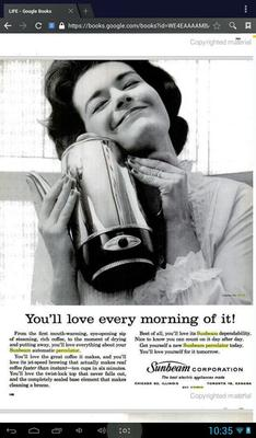 1962 ad for the exact same model of Sunbeam percolator.