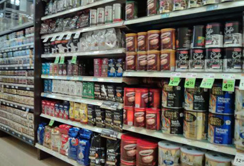 Coffee on supermarket shelves.