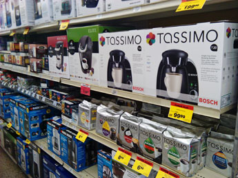 Keurig and Tassimo coffee makers in store