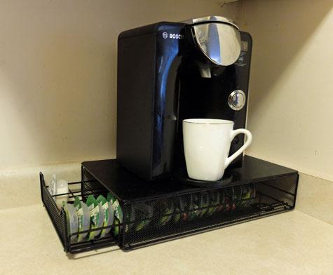 Tassimo coffee brewer storage drawer.