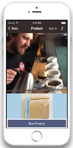 Tell Market coffee on your smart phone