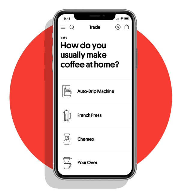 Trade Coffee subscription questionnaire