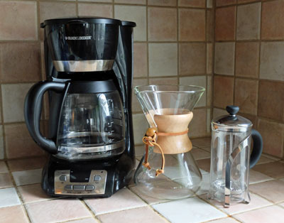 drip brewer, Chemex brewer and press pot