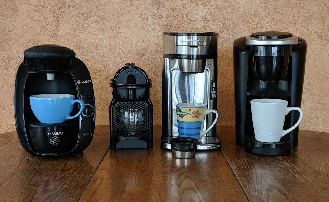 Four brands of single serve coffee maker