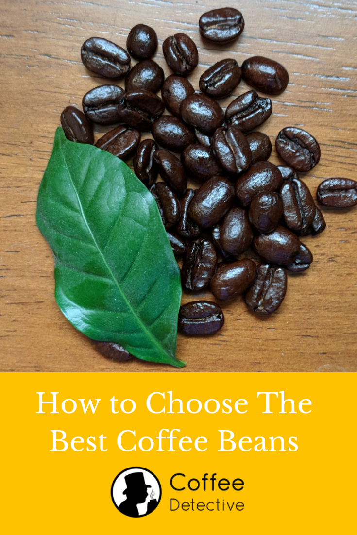Roasted gourmet coffee beans with a leaf from a coffee tree