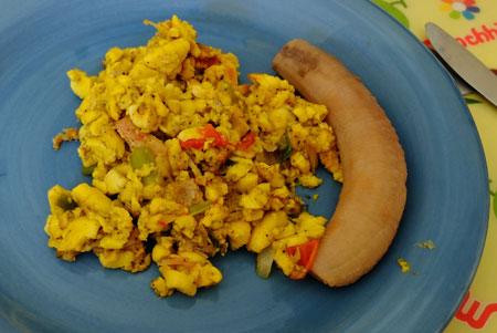 Ackee with slatfish and boiled banana