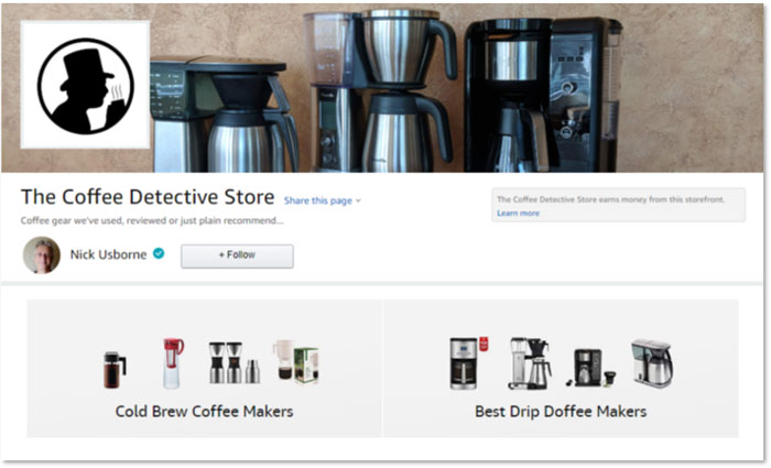 Coffee equipment store at Amazon