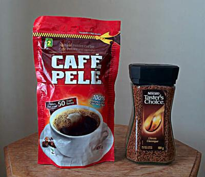 Comparing two instant coffees -  a cheap one and an expensive one.