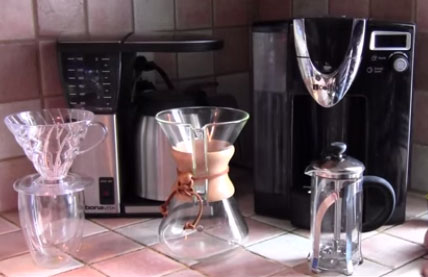 Different types of coffee makers.