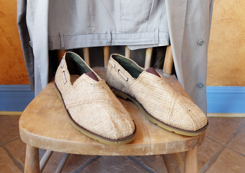 Shoes made from old burlap coffee sacks.