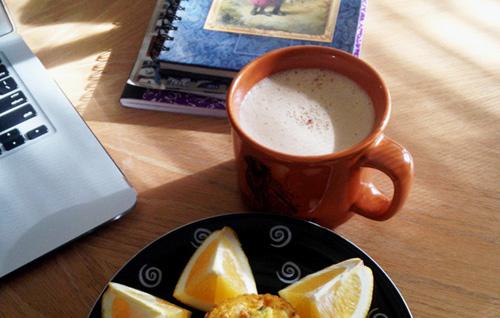 Bulletproof coffee with a healthy breakfast.