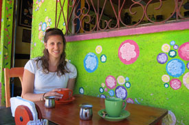 Enjoying coffee at a cafe in El Salvador