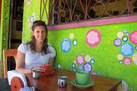 Enjoying coffee at a cafe in El Salvador