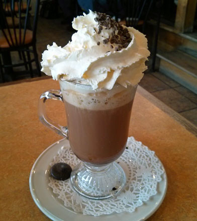Cafe Mocha with whipped cream and chocolate shavings.