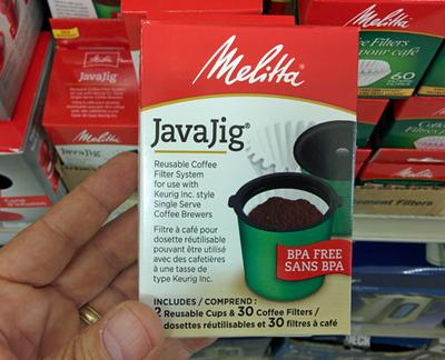 The Melitta JavaJig reusable filter system for Keurig.