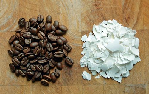 Egg shells in coffee.