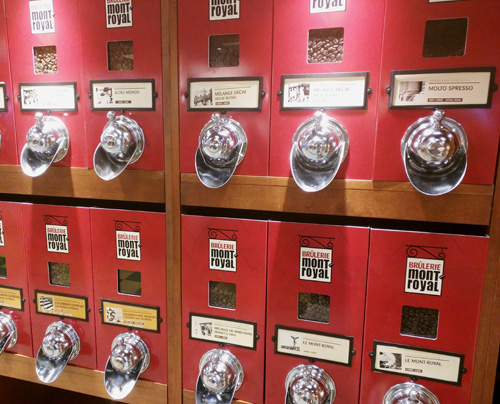 Supermarket coffee bins.
