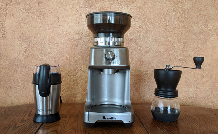 A selection of different coffee grinders.