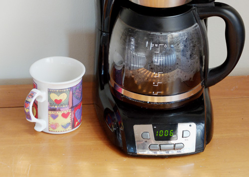 Coffee pot on hotplate.