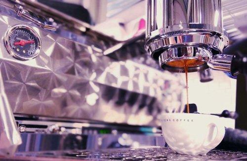 Espresso shot in coffee shop.