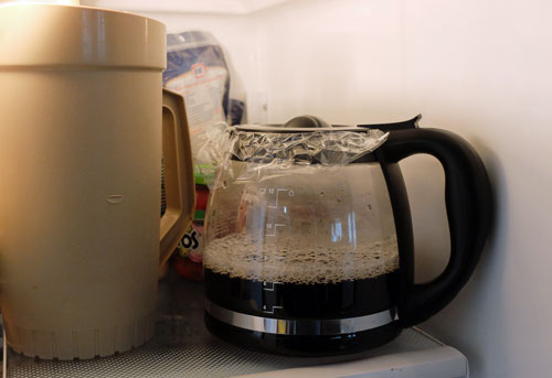 Coffee pot in fridge