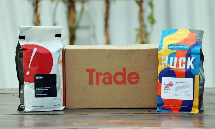 A box from the Trade Coffee subscription service and coffee club