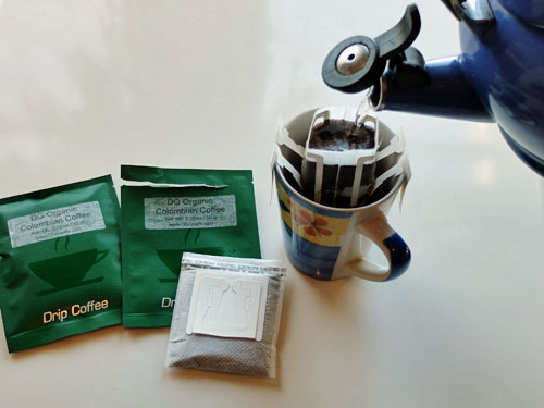 Pour over drip coffee packs