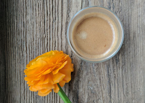espresso and an orange flower