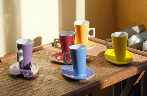 Colored espresso cups.