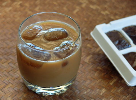Frozen coffee cubes for use in iced coffee drinks.