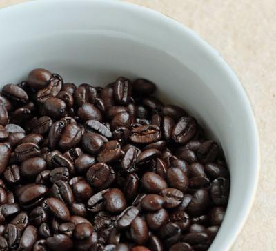 Dark roast coffee beans.