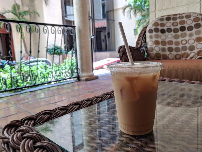 Iced coffee at hotel