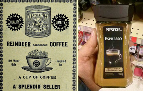 Instant coffee, then and now.