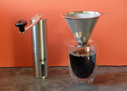 Javapresse coffee dripper and hand coffee grinder.