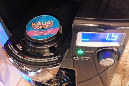 Kauai K-Cup coffee in brewer