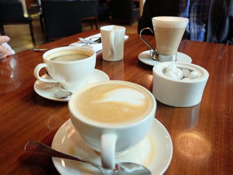 A Latte, Cafe Americano and Cappuccino